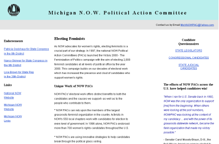 Michigan NOW PAC site
